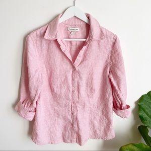 Coldwater Creek Pink Button Down Shirt 100% LINEN